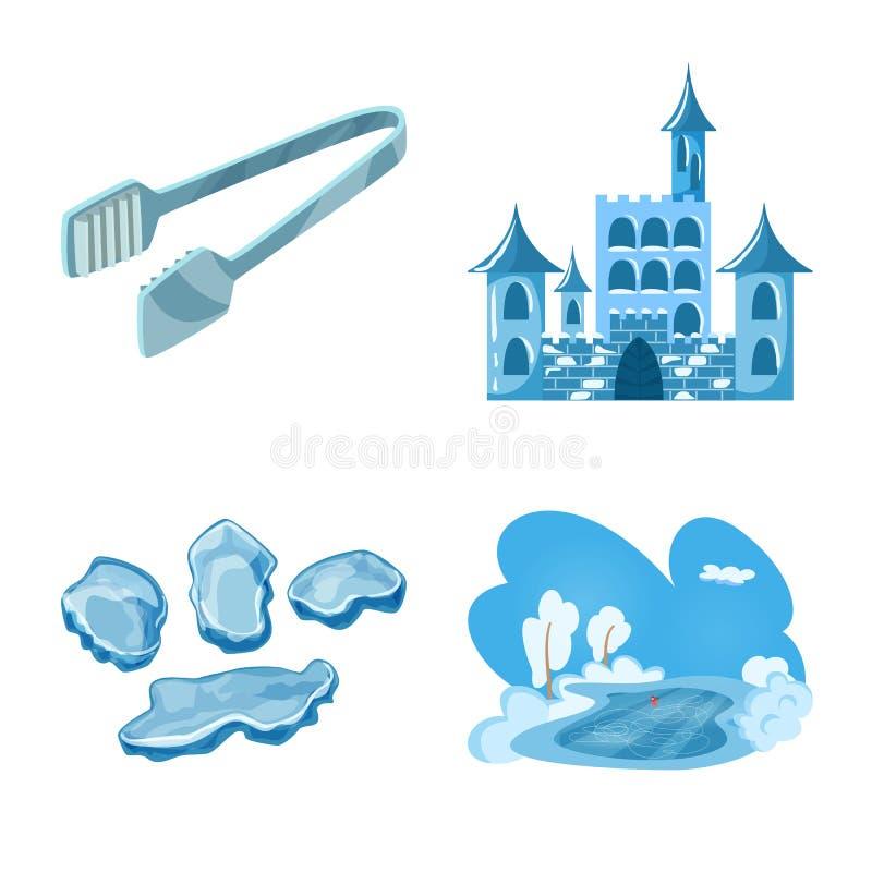 Vektordesign av frost- och vattensymbolet St?ll in av frost och det v?ta materielsymbolet f?r reng?ringsduk stock illustrationer