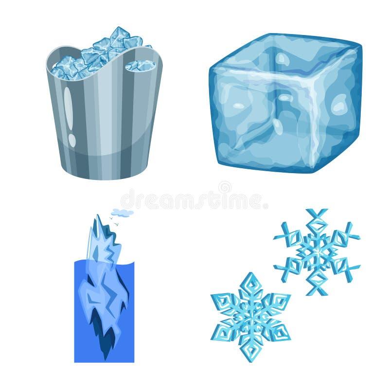 Vektordesign av frost- och vattentecknet Samling av frost och v?t vektorsymbol f?r materiel stock illustrationer
