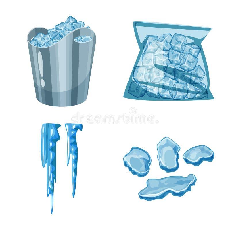 Vektordesign av frost- och vattentecknet St?ll in av frost och v?t materielvektorillustration royaltyfri illustrationer