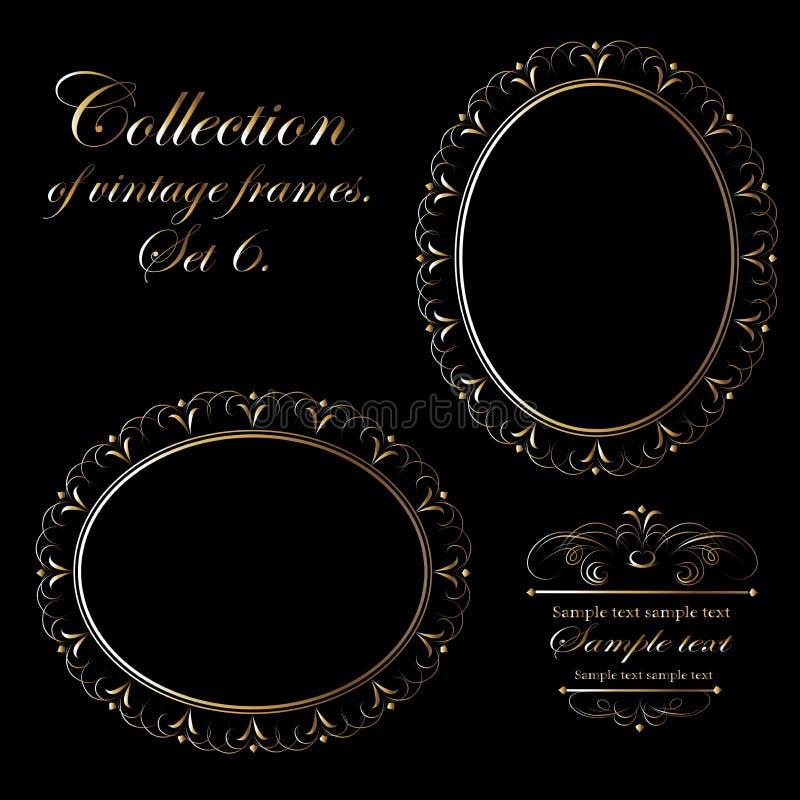 Vektordesign av guld- ramar för tappning på en svart bakgrund för kort, affärskort och inbjudningar royaltyfri illustrationer