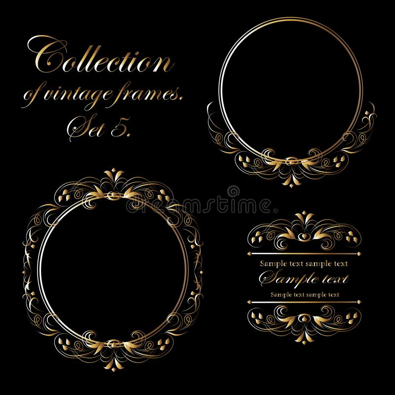 Vektordesign av guld- ramar f stock illustrationer
