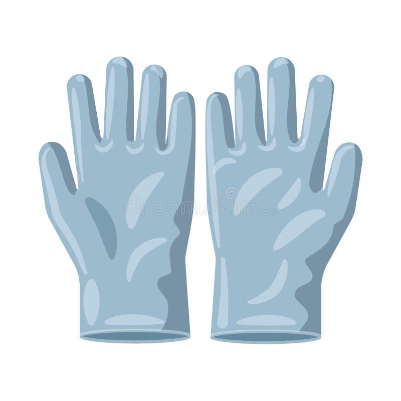 Vektordesign av handsken och vinterlogoen Uppsättning av handske- och utrustningvektorsymbolen för materiel royaltyfri illustrationer