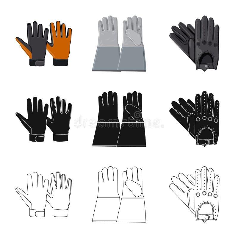 Vektordesign av handsken och vinterlogoen Upps?ttning av handske- och utrustningvektorsymbolen f?r materiel vektor illustrationer