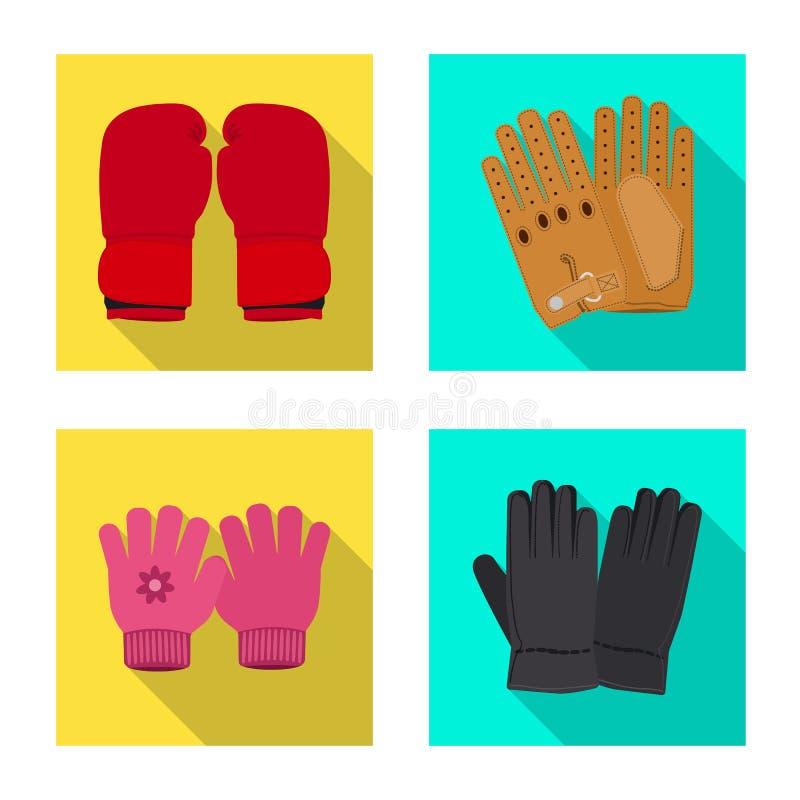 Vektordesign av handsken och vinterlogoen Upps?ttning av illustrationen f?r handske- och utrustningmaterielvektor royaltyfri illustrationer