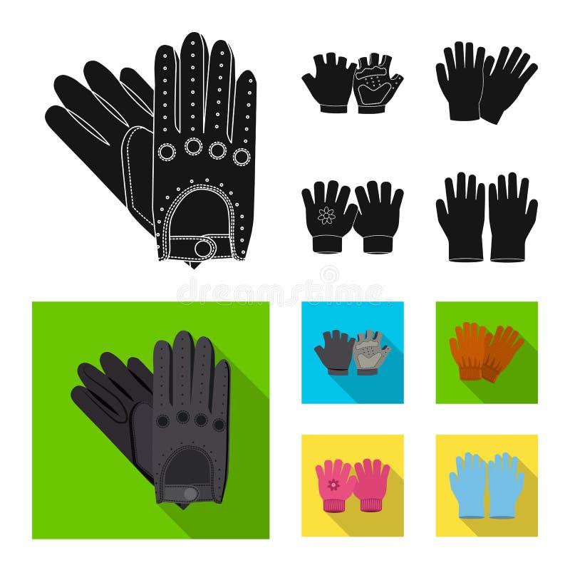 Vektordesign av handsken och vinterlogoen Upps?ttning av illustrationen f?r handske- och utrustningmaterielvektor vektor illustrationer