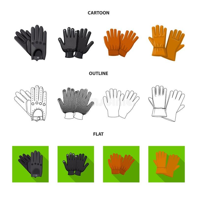 Vektordesign av handsken och vintersymbolet Upps?ttning av handske- och utrustningvektorsymbolen f?r materiel stock illustrationer