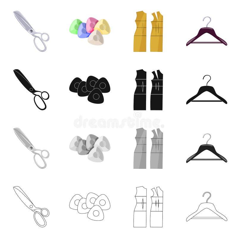 Vektordesign av hantverket och att handcraft symbol Samling av hantverk- och branschmaterielsymbolet f?r reng?ringsduk royaltyfri illustrationer