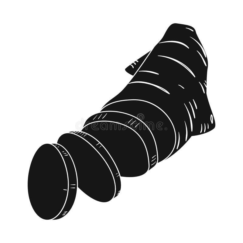 Vektordesign av ingefäran och att rota symbolen Ställ in av ingefära- och skivamaterielsymbolet för rengöringsduk royaltyfri illustrationer