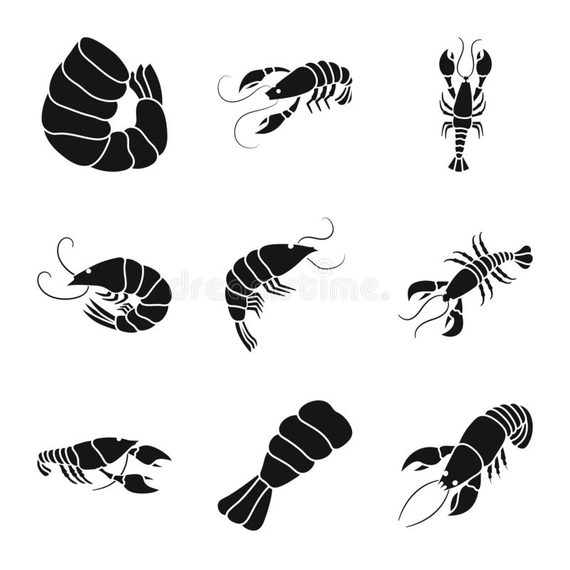 Vektordesign av k?tt- och l?ckerhettecknet Samling av k?tt- och krabbavektorsymbolen f?r materiel royaltyfri illustrationer
