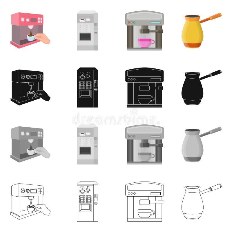 Vektordesign av kaffe- och maskintecknet Samling av kaffe- och k?kmaterielsymbolet f?r reng?ringsduk stock illustrationer