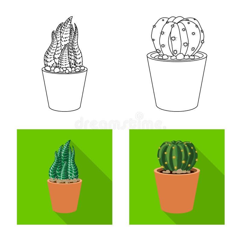 Vektordesign av kaktus- och krukalogoen Uppsättningen av kaktuns och kakturs lagerför vektorillustrationen stock illustrationer