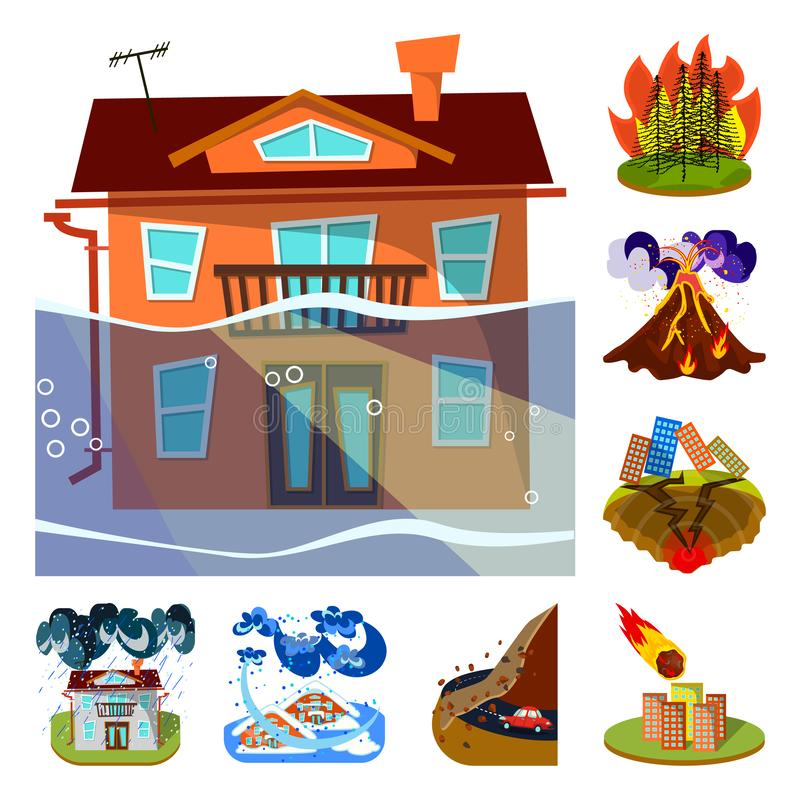 Vektordesign av katastrof- och katastrofsymbolen St?ll in av katastrof- och apokalypsvektorsymbolen f?r materiel royaltyfri illustrationer