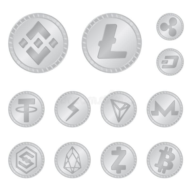 Vektordesign av kryptografi- och finanssymbolen Samling av det kryptografi- och e-affär materielsymbolet för rengöringsduk stock illustrationer
