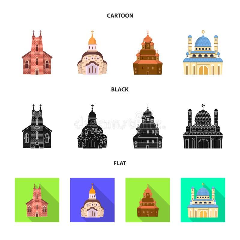 Vektordesign av kult och tempelsymbolen Samling av kult och f?rsamlingmaterielsymbolet f?r reng?ringsduk vektor illustrationer
