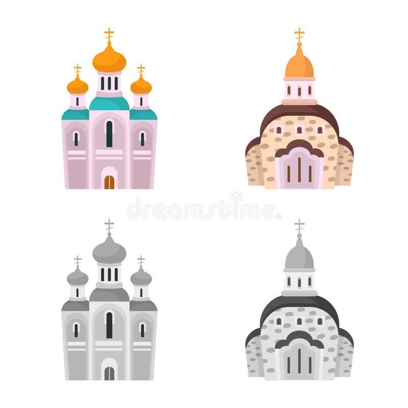 Vektordesign av kult och tempelsymbolen Samling av kult och illustrationen f?r f?rsamlingmaterielvektor vektor illustrationer