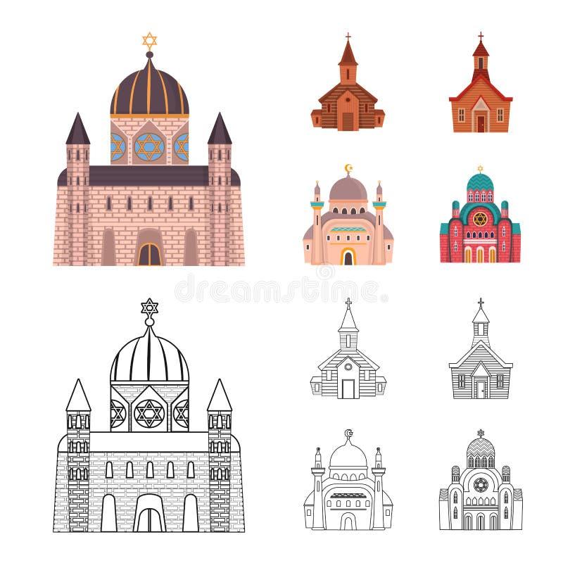 Vektordesign av kult och tempelsymbolen Samling av kult och illustrationen f?r f?rsamlingmaterielvektor stock illustrationer