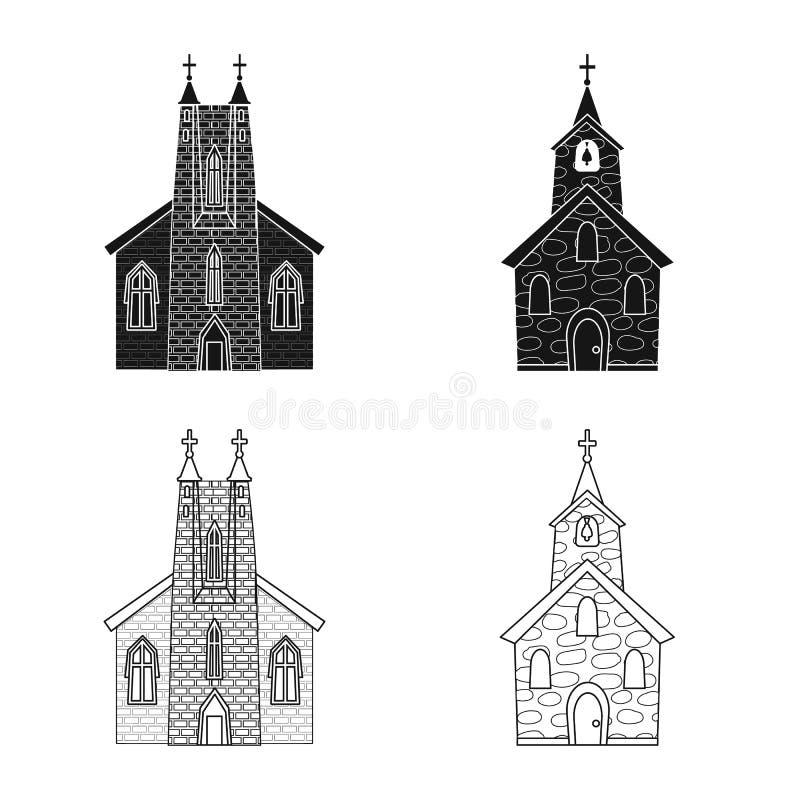 Vektordesign av kult och tempelsymbolen St?ll in av kult och f?rsamlingmaterielsymbolet f?r reng?ringsduk stock illustrationer