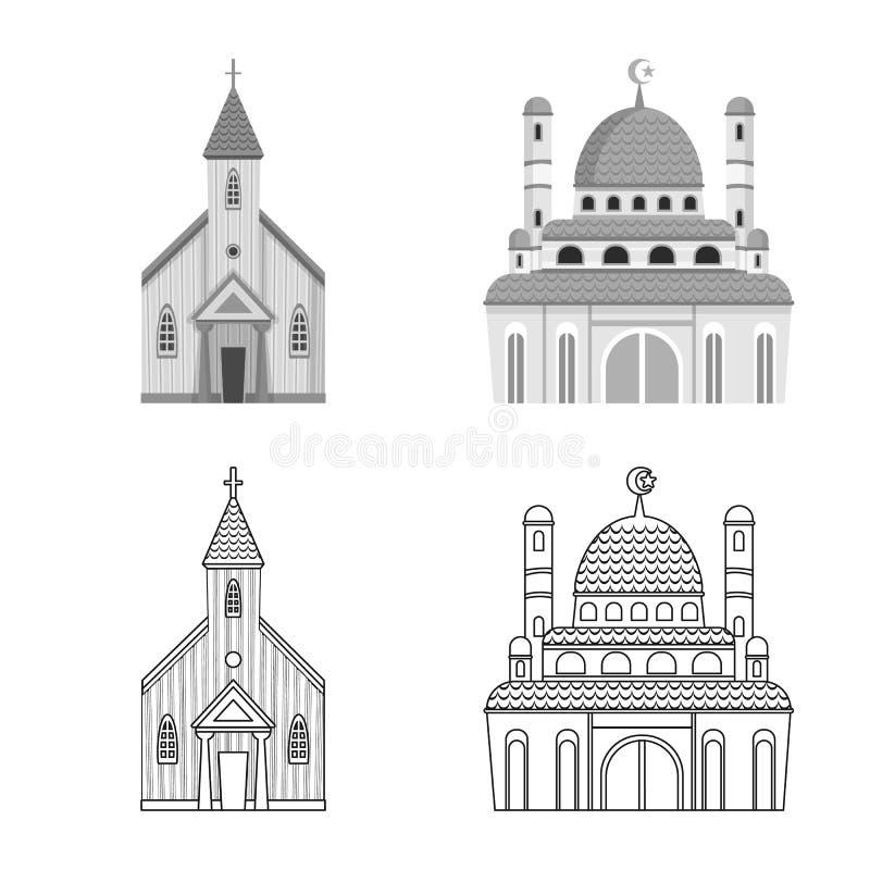 Vektordesign av kult och tempelsymbolen St?ll in av kult och f?rsamlingvektorsymbolen f?r materiel stock illustrationer