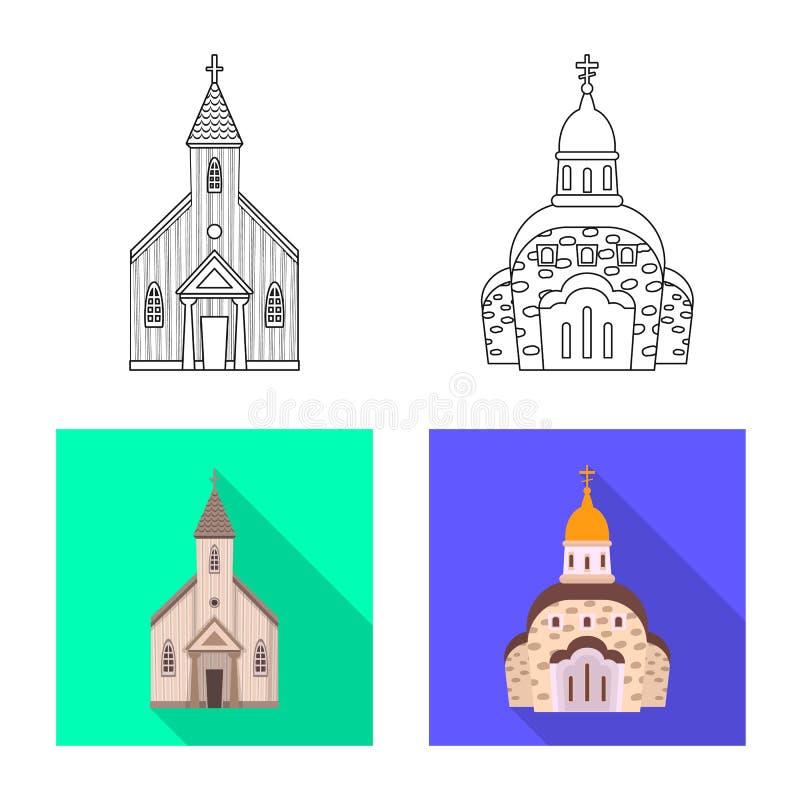Vektordesign av kult och tempelsymbolen St?ll in av kult och f?rsamlingvektorsymbolen f?r materiel vektor illustrationer