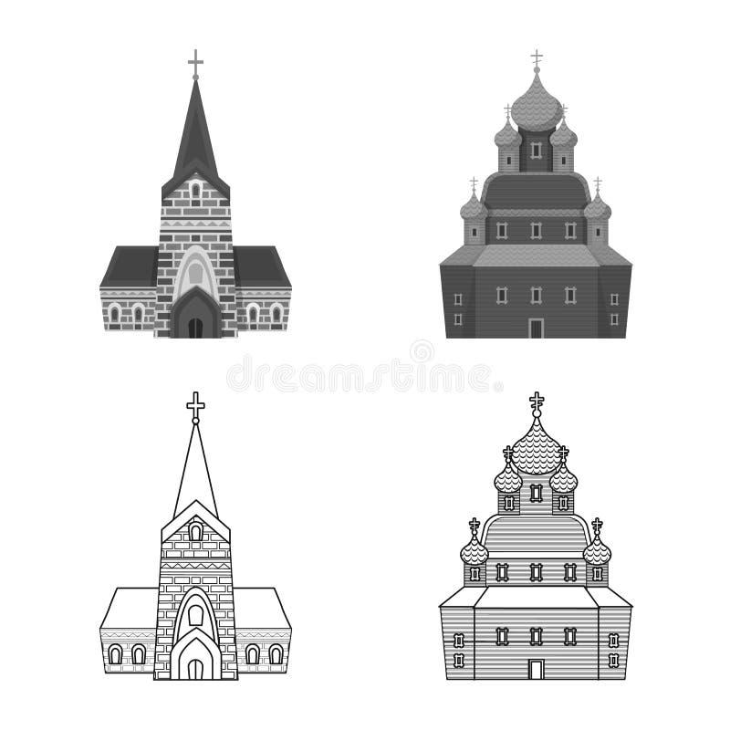 Vektordesign av kult och tempelsymbolet Samling av kult och f?rsamlingmaterielsymbolet f?r reng?ringsduk royaltyfri illustrationer