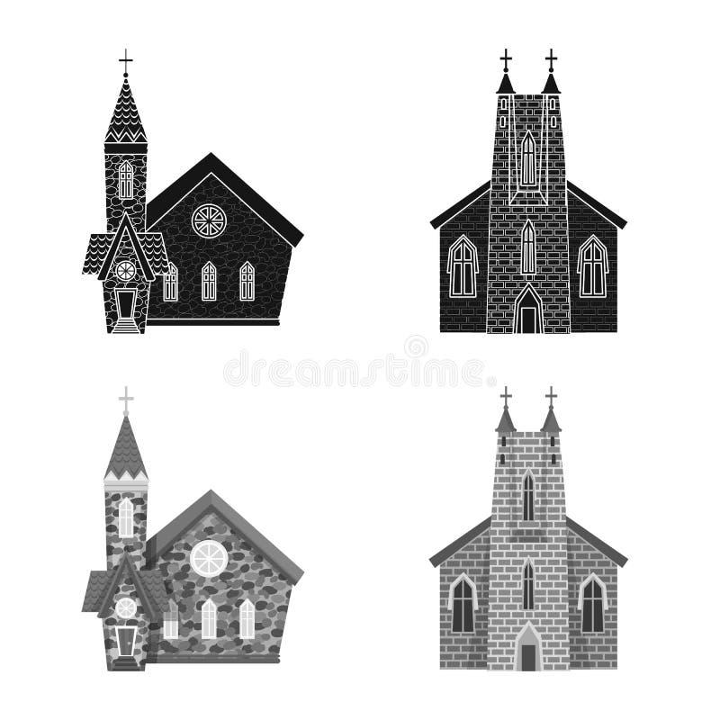 Vektordesign av kult och tempeltecknet Samling av kult och f?rsamlingvektorsymbol f?r materiel vektor illustrationer