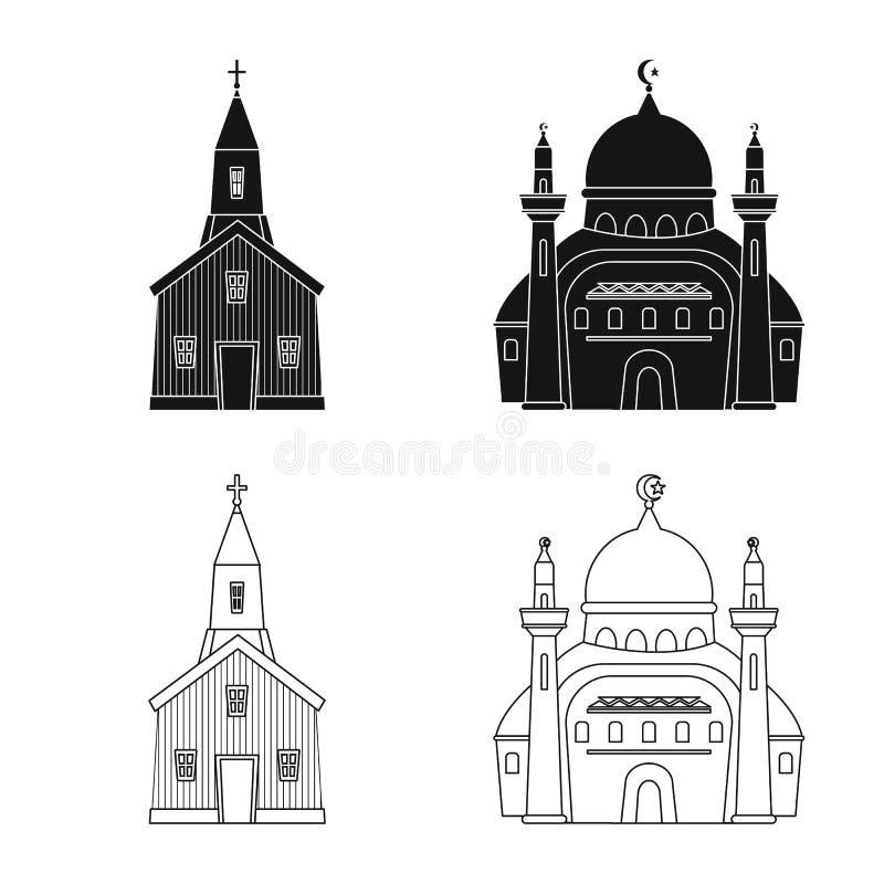 Vektordesign av kult och tempeltecknet St?ll in av kult och f?rsamlingmaterielsymbolet f?r reng?ringsduk royaltyfri illustrationer