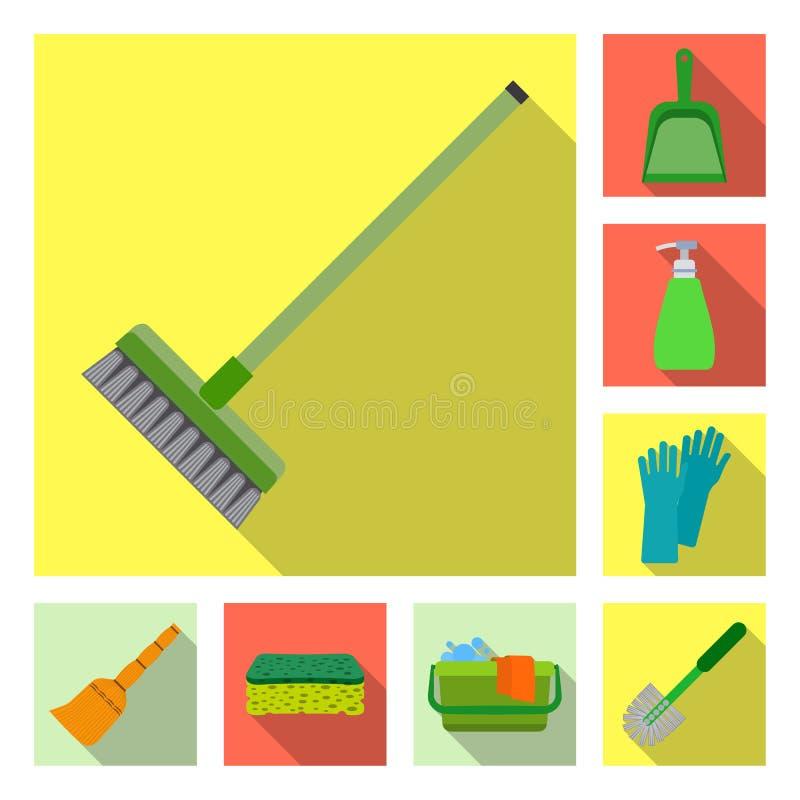 Vektordesign av lokalvård- och servicetecknet Samling av lokalvård- och hushållmaterielsymbolet för rengöringsduk vektor illustrationer