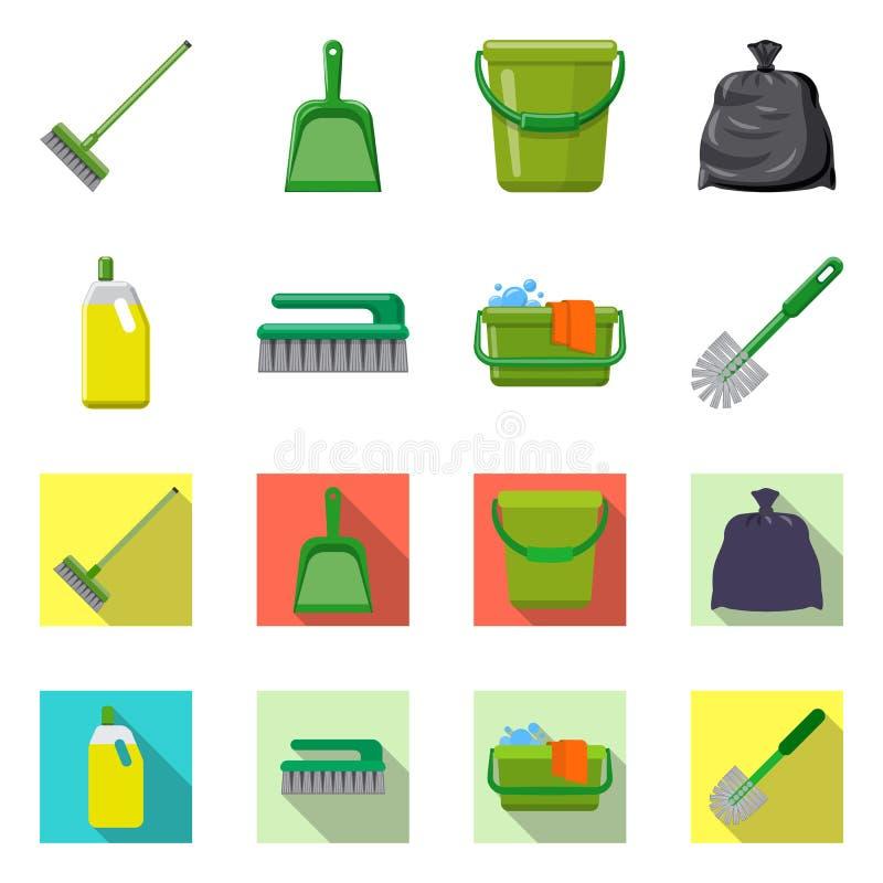 Vektordesign av lokalv?rd- och servicesymbolen Samling av illustrationen f?r lokalv?rd- och hush?llmaterielvektor stock illustrationer