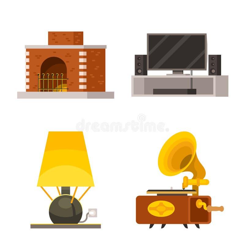 Vektordesign av möblemang och det inre symbolet Samling av illustrationen för möblemang- och tillbehörmaterielvektor stock illustrationer