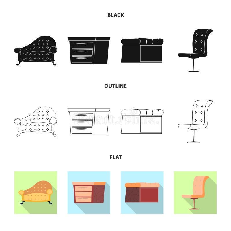 Vektordesign av möblemang- och lägenhetlogoen Uppsättning av möblemang och hem- vektorsymbol för materiel royaltyfri illustrationer