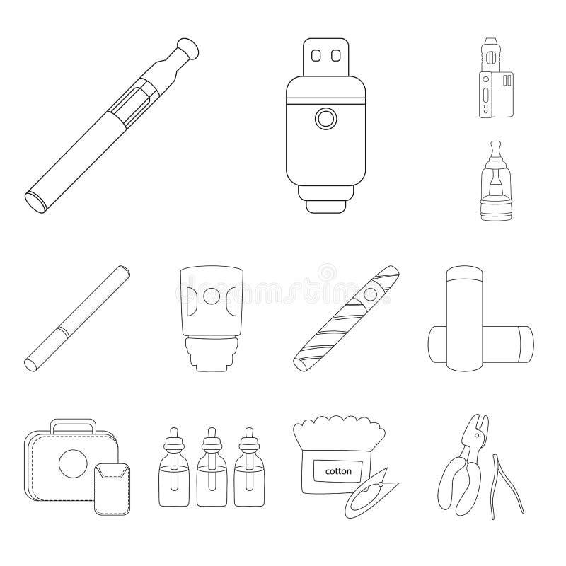 Vektordesign av nikotin- och filtersymbolen Samling av illustrationen för nikotin- och rörmaterielvektor stock illustrationer
