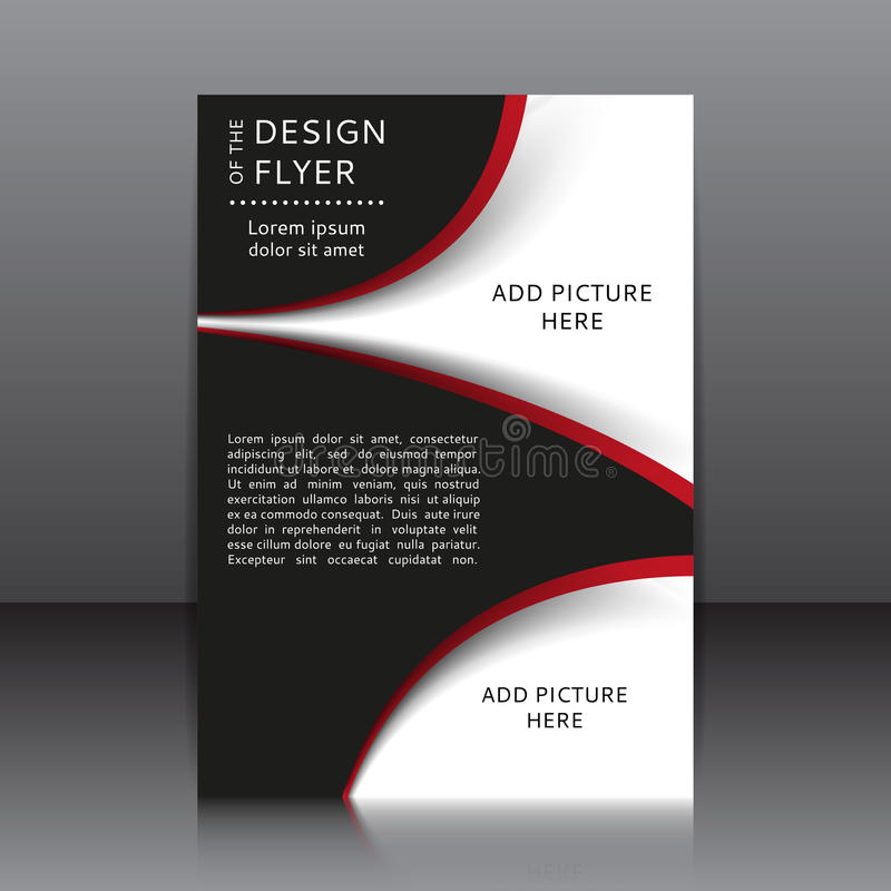 Vektordesign av reklambladet med röda och svarta beståndsdelar och ställen för bilder vektor illustrationer