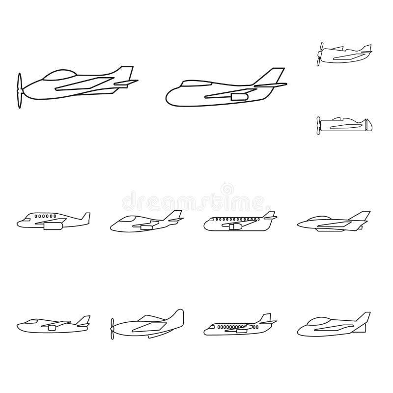 Vektordesign av reklamfilm- och flyglogoen Ställ in av reklamfilm- och flygbolagmaterielsymbolet för rengöringsduk royaltyfri illustrationer