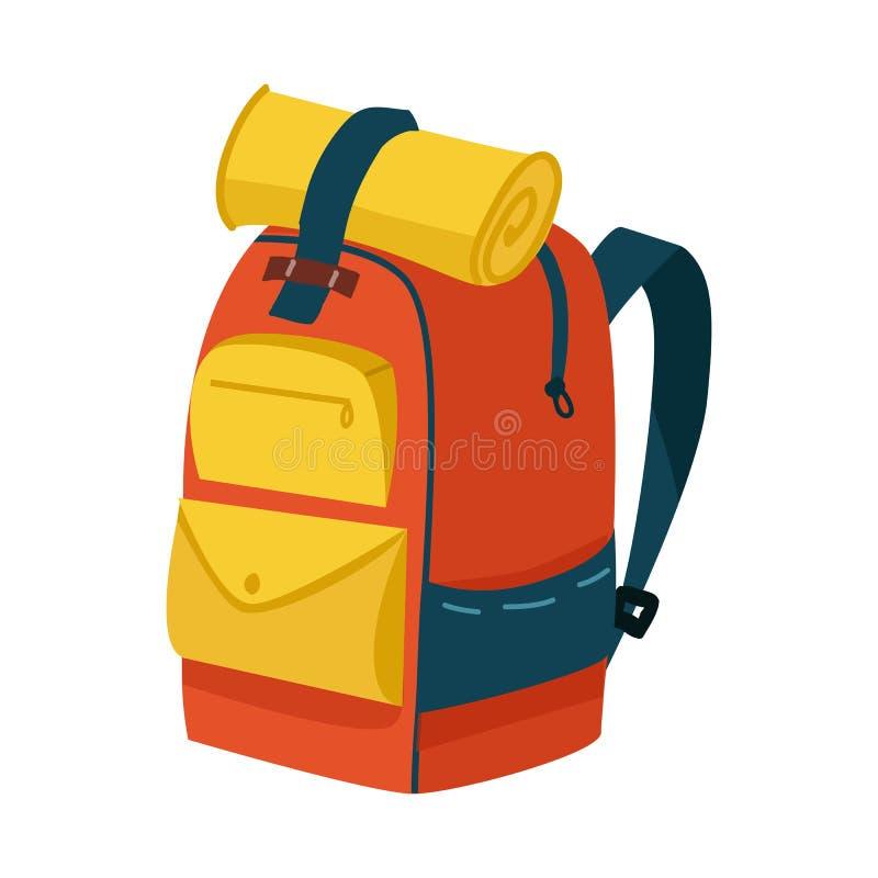 Vektordesign av ryggsäck- och påsesymbolet Ställ in av ryggsäcken och att fotvandra materielvektorillustrationen vektor illustrationer