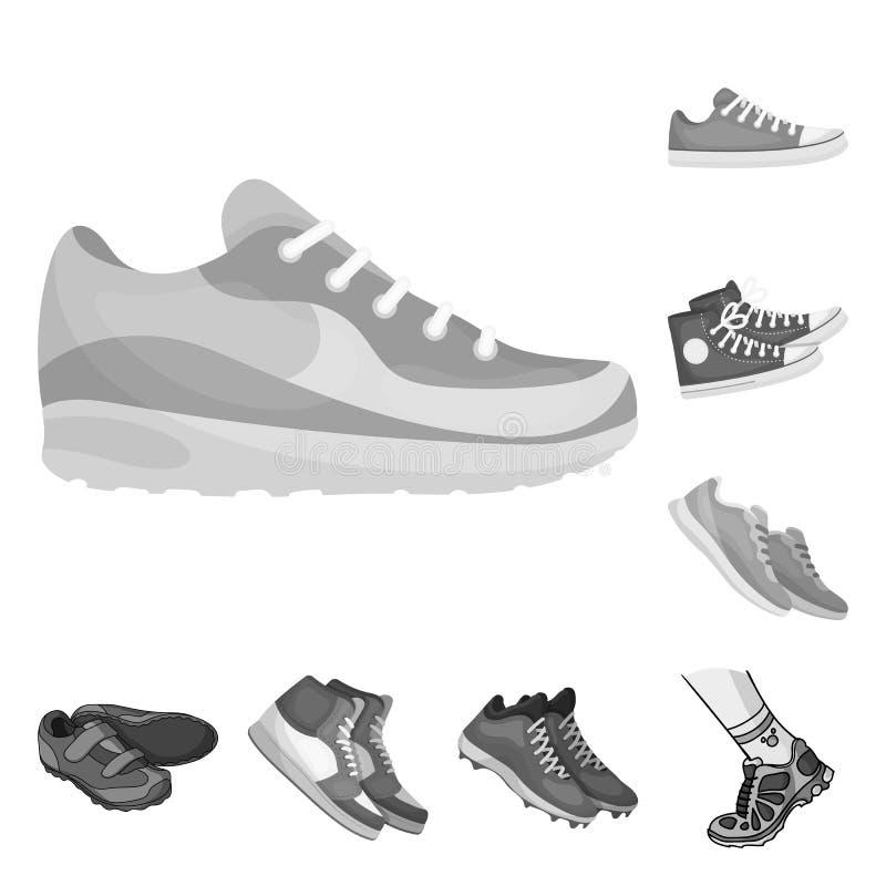 Vektordesign av sko- och sportlogoen Ställ in av skon och konditionvektorsymbolen för materiel vektor illustrationer