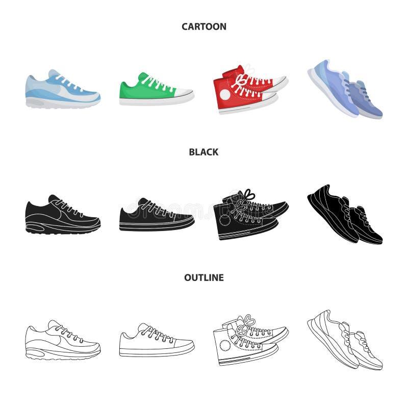 Vektordesign av sko- och sportsymbolen St?ll in av skon och illustration f?r konditionmaterielvektor stock illustrationer