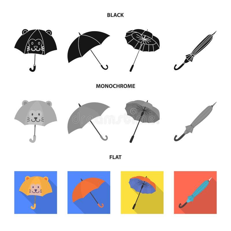 Vektordesign av skydd och den stängda logoen Samlingen av skydd och regnigt lagerför symbolet för rengöringsduk vektor illustrationer