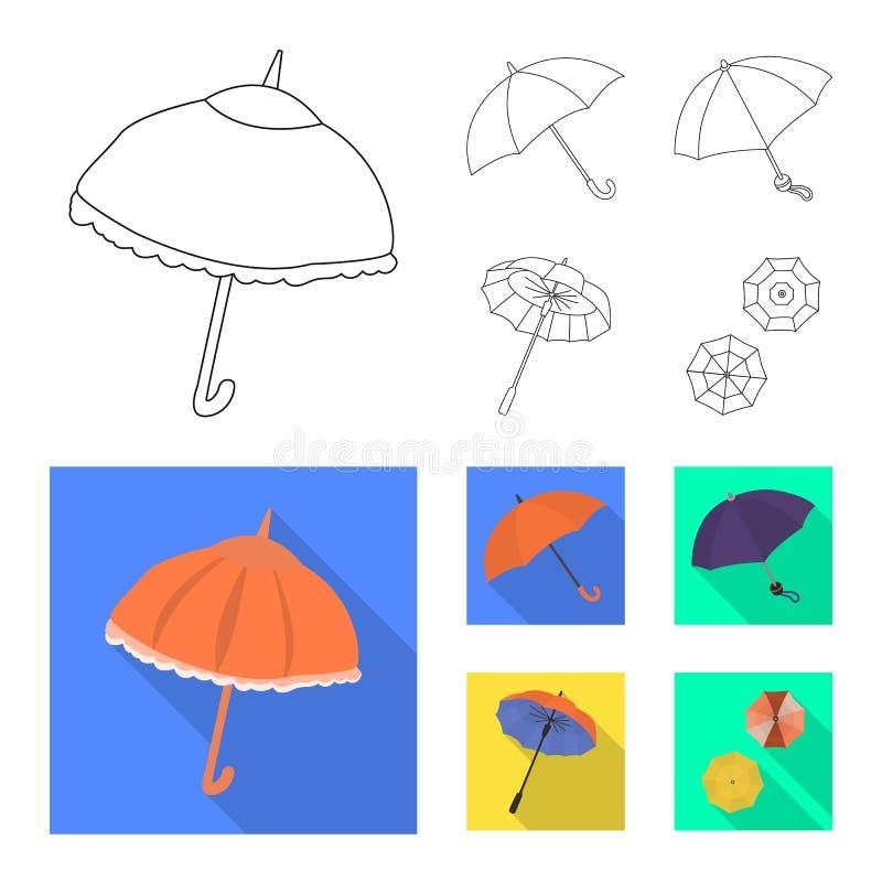 Vektordesign av skydd och den stängda logoen Samlingen av skydd och regnigt lagerför vektorillustrationen vektor illustrationer