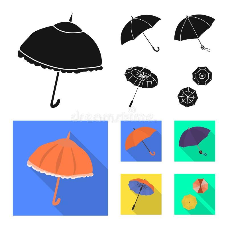 Vektordesign av skydd och den stängda logoen Ställ in av skydd och den regniga vektorsymbolen för materiel stock illustrationer
