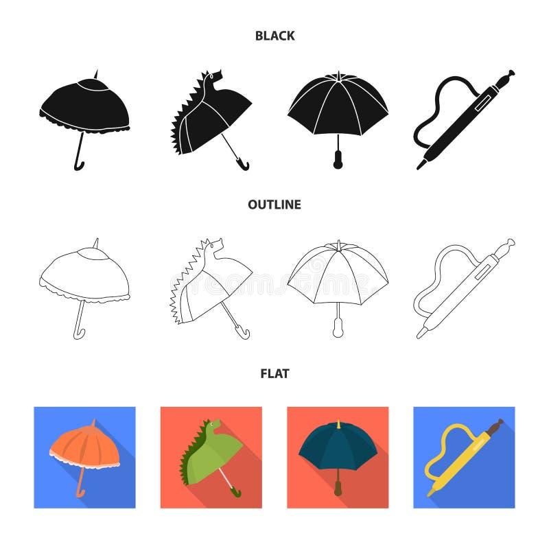 Vektordesign av skydd och den stängda logoen Ställ in av skydd och den regniga vektorsymbolen för materiel vektor illustrationer