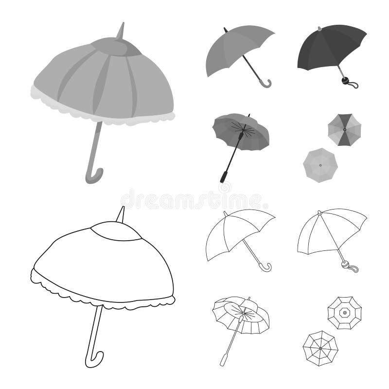 Vektordesign av skydd och den stängda symbolen Samlingen av skydd och regnigt lagerför symbolet för rengöringsduk vektor illustrationer