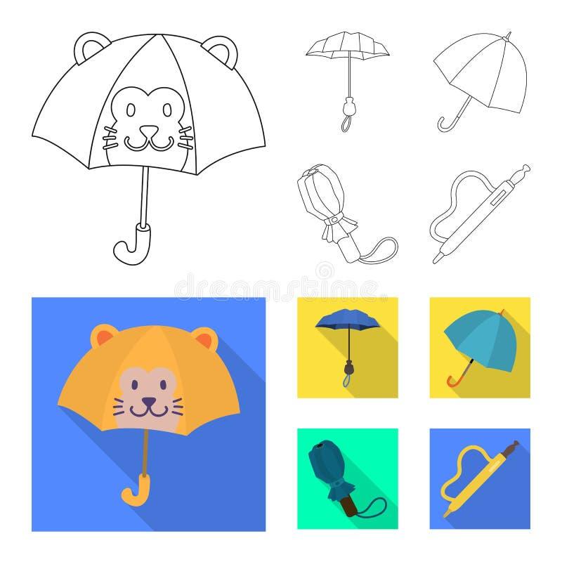 Vektordesign av skydd och den stängda symbolen Samlingen av skydd och regnigt lagerför vektorillustrationen stock illustrationer