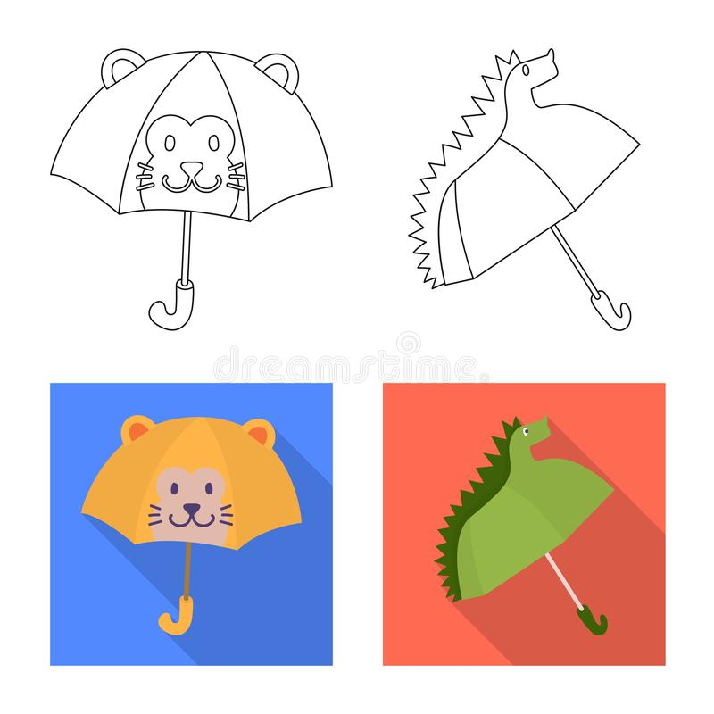 Vektordesign av skydd och den st?ngda logoen St?ll in av skydd och det regniga materielsymbolet f?r reng?ringsduk vektor illustrationer