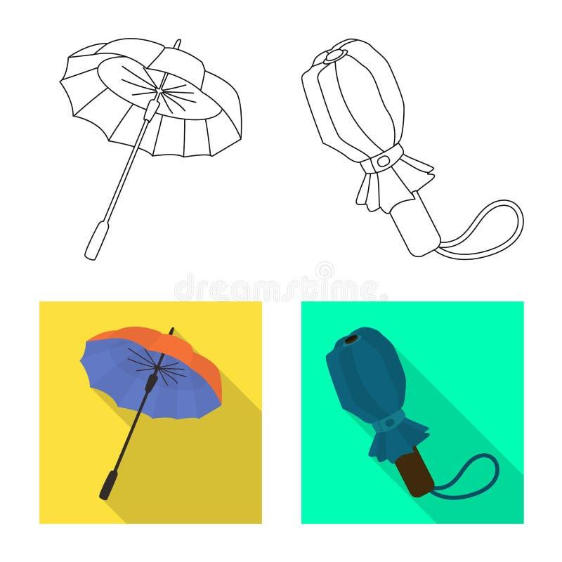 Vektordesign av skydd och den st?ngda symbolen St?ll in av skydd och den regniga vektorsymbolen f?r materiel royaltyfri illustrationer