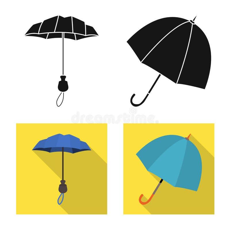 Vektordesign av skydd och den st?ngda symbolen Samlingen av skydd och regnigt lagerf?r vektorillustrationen vektor illustrationer