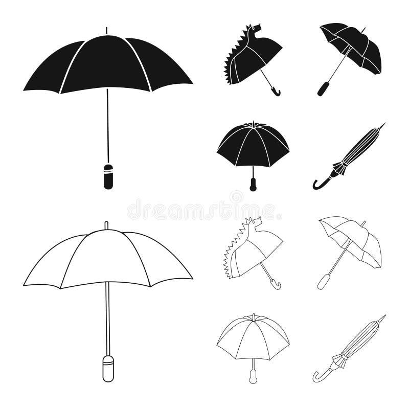 Vektordesign av skydd och det stängda symbolet Ställ in av skydd och den regniga vektorsymbolen för materiel vektor illustrationer