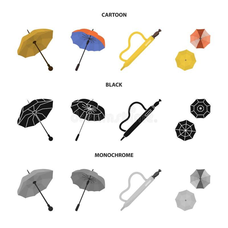 Vektordesign av skydd och det stängda symbolet Ställ in av skydd och den regniga vektorsymbolen för materiel stock illustrationer
