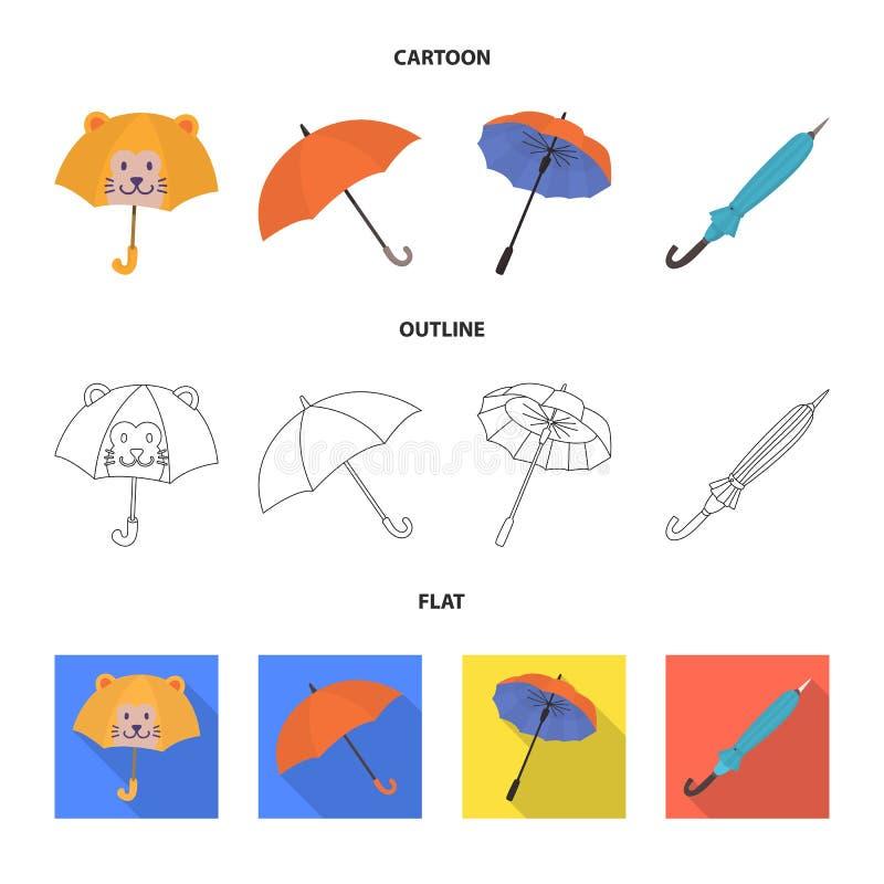 Vektordesign av skydd och det stängda tecknet Samlingen av skydd och regnigt lagerför symbolet för rengöringsduk vektor illustrationer