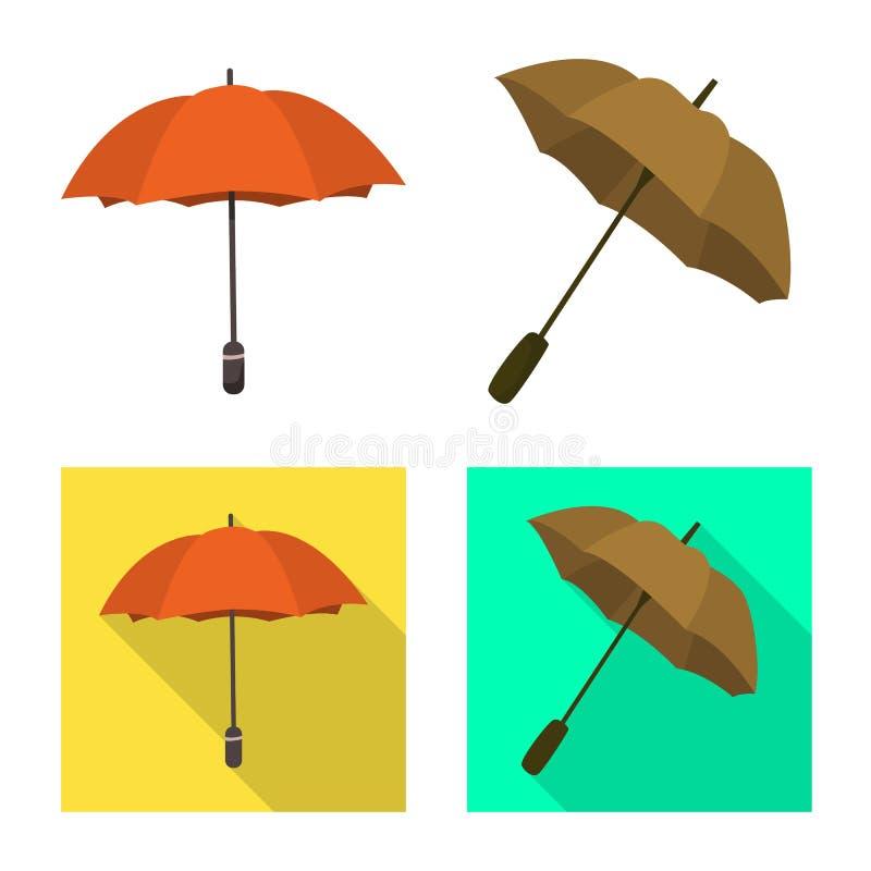 Vektordesign av skydd och det st?ngda symbolet Samlingen av skydd och regnigt lagerf?r vektorillustrationen stock illustrationer