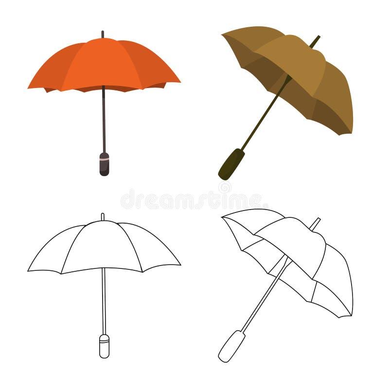 Vektordesign av skydd och det st?ngda tecknet St?ll in av skydd och den regniga vektorsymbolen f?r materiel vektor illustrationer